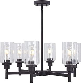 VINLUZ 6 Light Industrial Chandelier Black Pendant Lighting Hanging Fixture with Cylinder Clear Glass for Kitchen Bedroom Dining Room