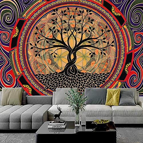 KHKJ Tapiz de Sol psicodélico, Mandala para Colgar en la Pared, tapices Hippie de macramé para Sala de Estar, hogar, Dormitorio, decoración A2 200x180cm