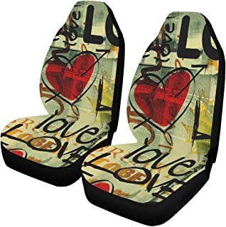 INTERESTPRINT Graffiti Love Heart Valentines Day Car Seat Covers Set of 2 Protector