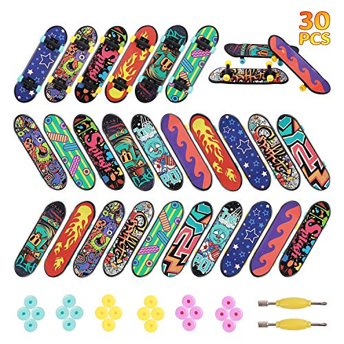 HEHALIs 30 Pcs Finger Skateboards Fingerboards in 10 Different Patterns Novelty Toys for Kids Party Favors, Christmas Goodie Bag fillers, Christmas prizes