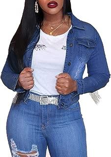 BSC007 Women's Stretch Denim Jacket Vintage Tassels Casual Jean Outerwear