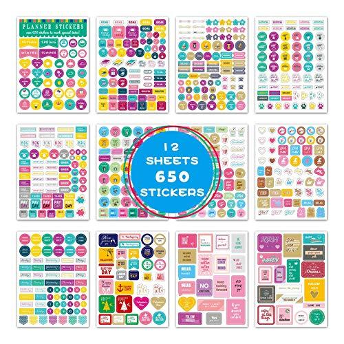 iMagitek 12 Blatt 650 Stück Planer Aufkleber für Planer, Bullet Journal, Scrapbook Aufkleber, Kalender