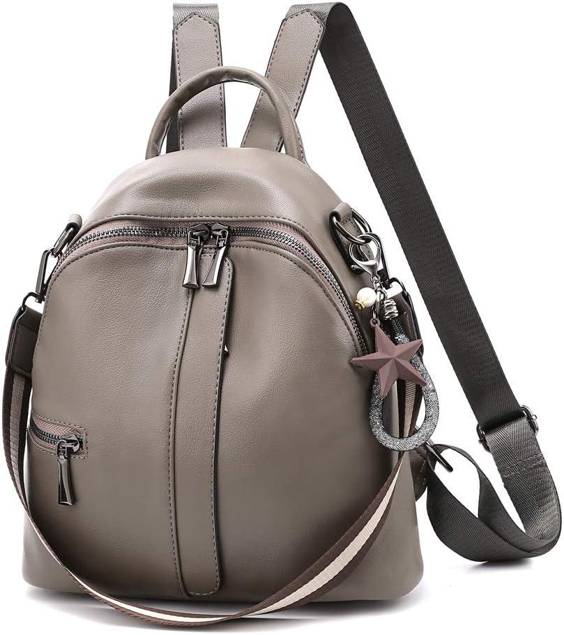 Fashion Mini Backpack Purse For Women Girls Convertible Shoulder Bag Leather School Bag Daypacks Grey
