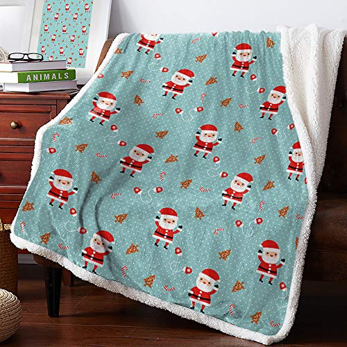 Christmas Sherpa Fleece Throw Blanket for Unisex, Blanket Ultra Soft Comfort Microfiber for Couch Cartoon Santa Claus with Polka Dots 50x60 inches