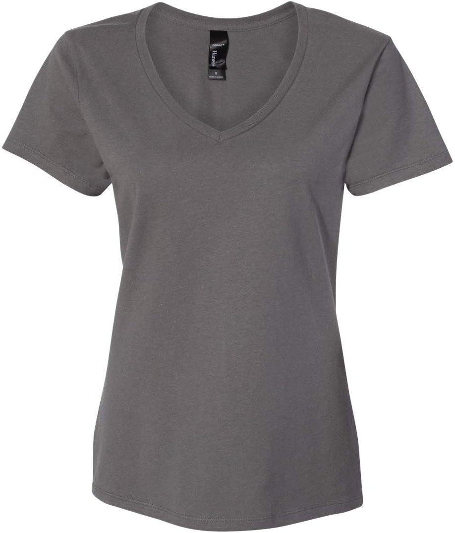 Hanes - Nano-T Women's V-Neck T-Shirt - S04V - M - Smoke Grey