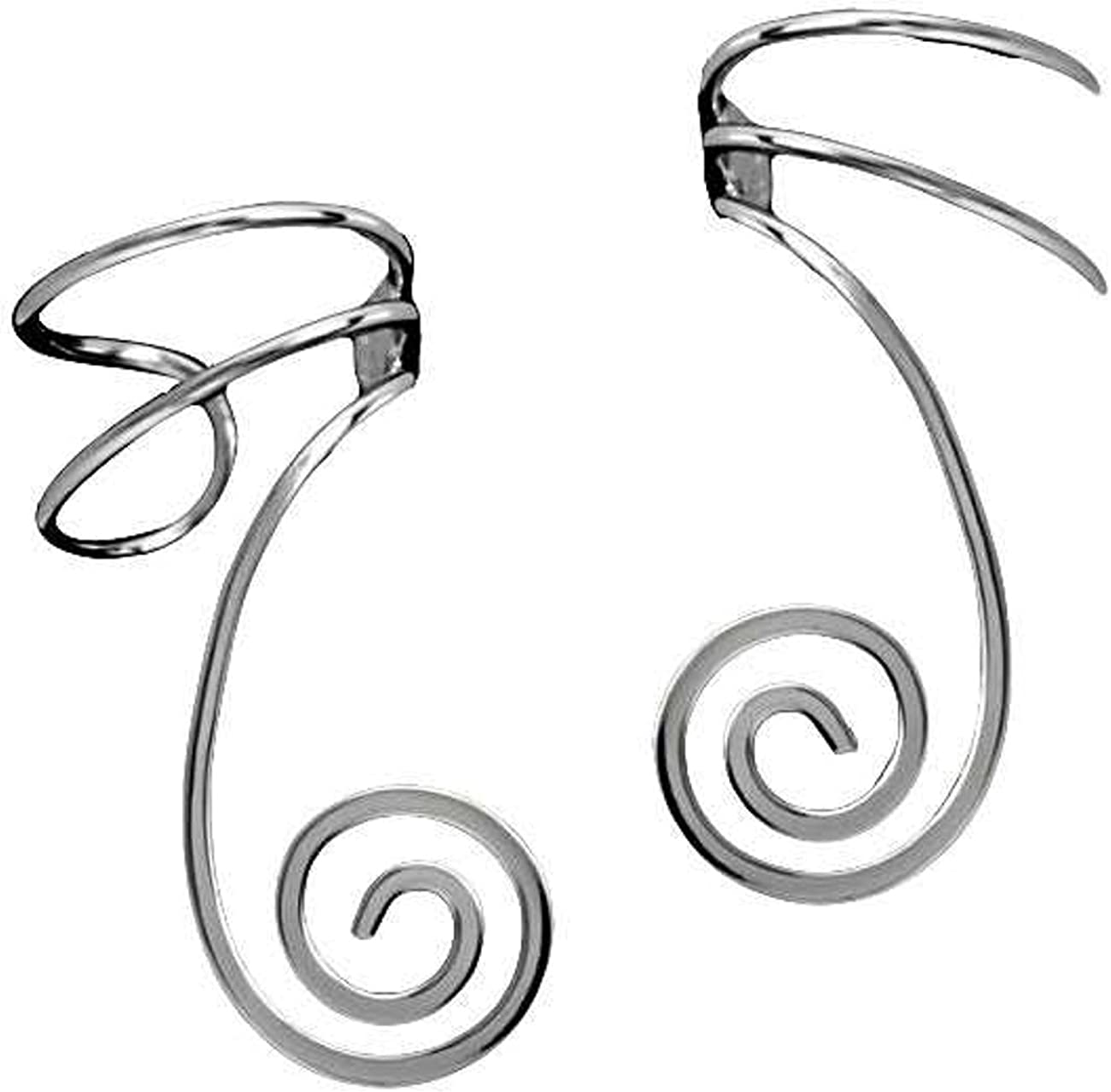 Sterling Silver Spiral trend rank Wire Set Cuff NEW before selling Ear Wrap