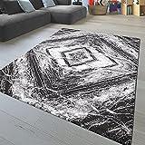 TT Home Alfombra Salón Pelo Corto Tendencia Diseño Abstracto Estética Geométrica Rombos, Color:Blanco Negras Antracita, Tamaño:80x150 cm