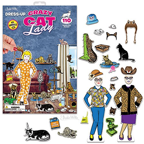 Price comparison product image Dress-Up Crazy Cat Lady 110 Reusable Cling Stickers