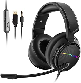 Jeecoo V20 Over the Ear Gaming Headset with Microphone,Volume Control,LED Light Headset for PS4/Nintendon Switch/Xbox one/PC