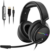 Jeecoo V20 PS4 Xbox one Gaming Headset,Stereo Surrounding Sound Headphones with Microphone LED Light Earphones for PC, Switch, Mobile Devices, Games
