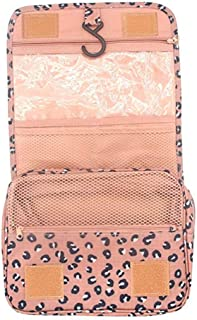 Axgo Multifunctional Cosmetic Portable Travel Folding Make up Toiletry Bags with Hook, Pink