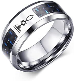 Religious Jewelry Messianic Star of David Menorah Fish Stainless Steel Blue Carbon Fiber Rings,8MM