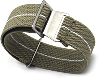 KZFASHIONS Nato Watch Strap, 18mm 20mm 22mm Nato Nylon Elastic Watch Strap Silver Buckle Parachute Watch Band Military Bracelet