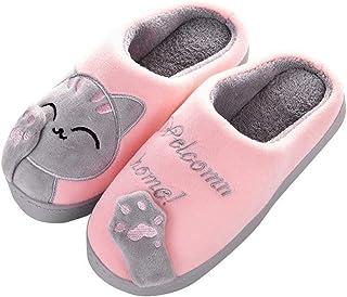 Cotton Slippers Women Winter Home Slippers Cartoon Cat Non-slip Warm Indoors Bedroom Floor Shoes