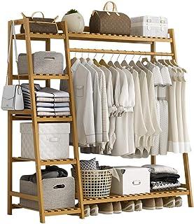 GWLGWL Portant Penderie à Vêtements en Bambou, 4 en 1 Porte-Manteau vêtements Tringle Rangement 6 étagères, Stable Portant...
