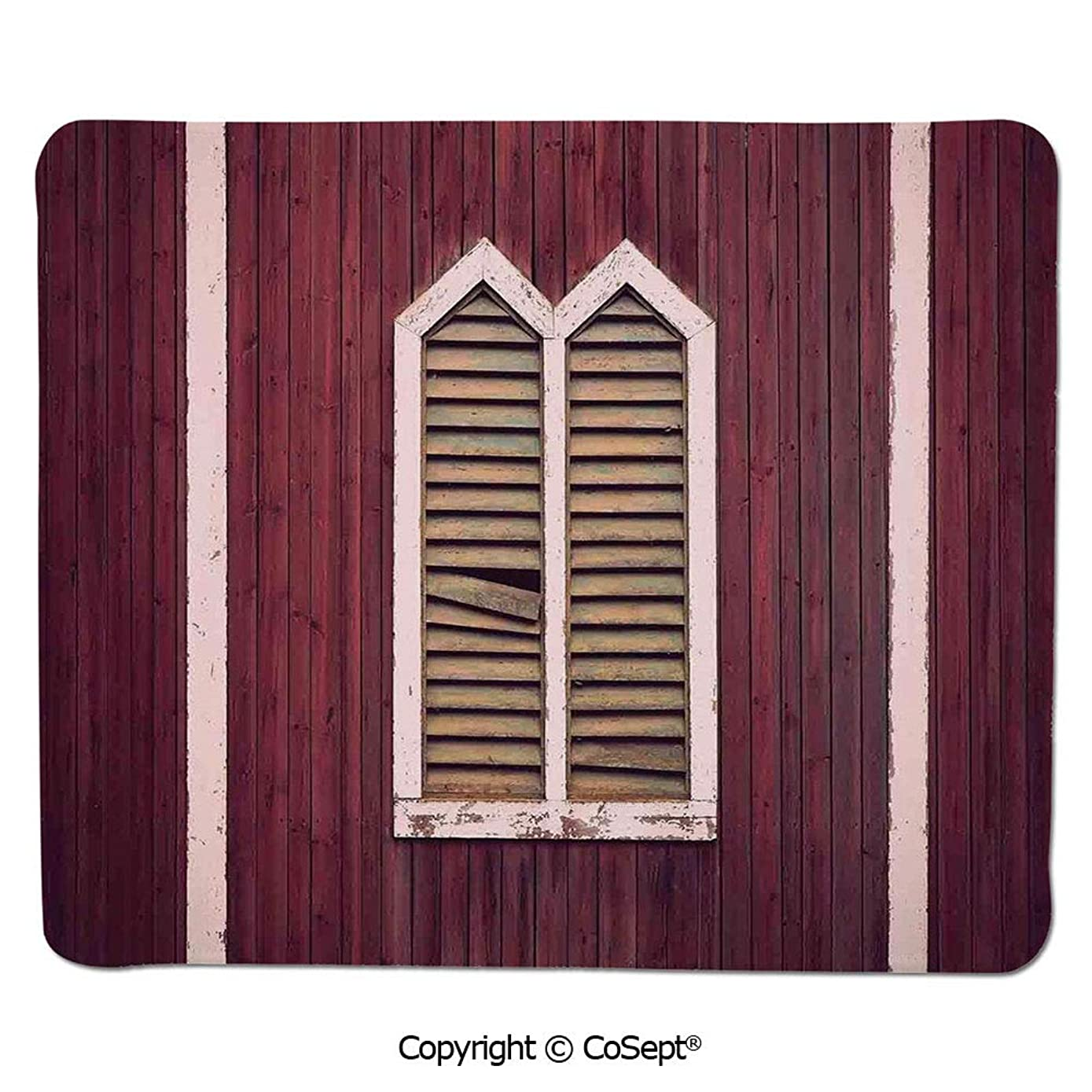 Non-Slip Rubber Base Mousepad,Window Frame with Shutters on a Wooden Wall Vintage Style Artwork Print,Non-Slip Water-Resistant Rubber Base Cloth Computer Mouse Mat (11.81