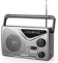 SEMIER AM/FM Portable Radio, Best Reception Compact Transistor Radios AC Power Operated or Operated by Dry Battery (D Cell Batteries x 2pcs, Battery not Included) -Grey