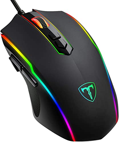 PICTEK Gaming Mouse Wired, 8 Programmable Buttons, Chroma RGB Backlit, 7200 DPI Adjustable, Comfortable Grip Ergonomi...