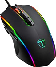 PICTEK Gaming Mouse Wired, RGB Chroma Backlit Gaming Mouse, 8 Programmable Buttons, 7200 DPI Adjustable, Comfortable Grip Ergonomic Optical PC Computer Gaming Mice with Fire Button, Sega Genesis Acces