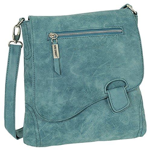 Ledershop24 Geschenkset - Handtasche Schultertasche Umhängetasche Wildleder-Imitat Used Look mit Riegelverschluss Farbe blau