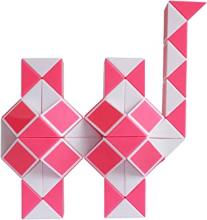Mipartebo Magic Snake Cube Twist Puzzles 72 Wedges Brain Teaser Toys White and Pink
