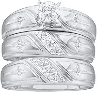 Diamond Solitaire Engagement Ring + Wedding Bands Set Men Women Christian Cross 1/6ct 14k White Gold