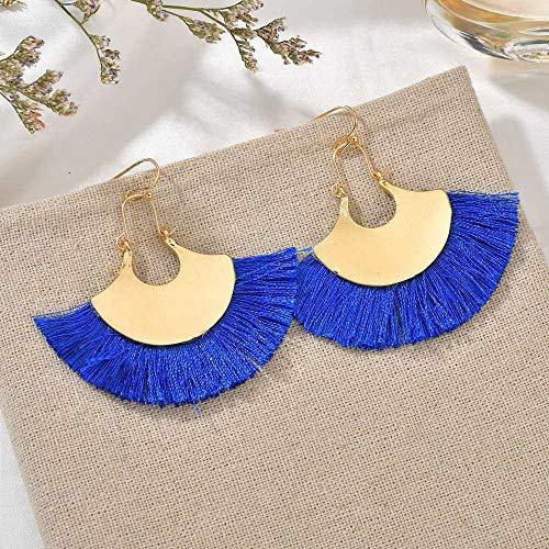 Oorbellen De Boheemse vrouwen Simple Mode kwast ventilator metaal blauw lange persoonlijkheid overdreven creatieve geschenken Trend Catwalk Party Fotografie