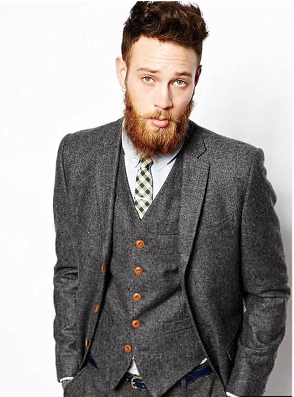 high-End 3 mart Piece Grey Tweed Herringbone Suits Men's Slim Gro Max 42% OFF Fit