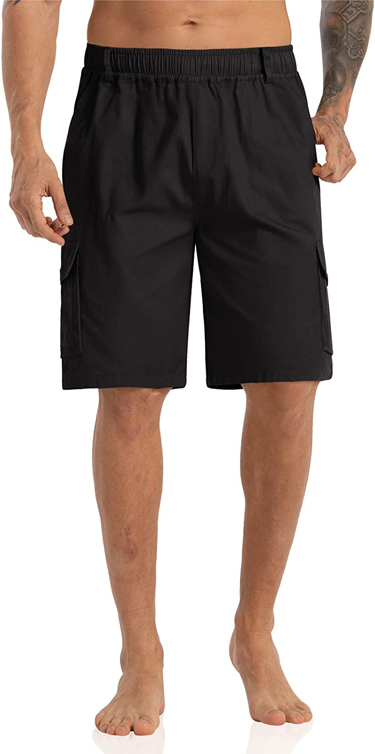 """Agnes Urban Men's 10"""" Cargo Shorts Classic Relaxed Fit Elastic Waist Cotton Work Shorts with Inner Drawstring  """