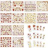 12 Feuilles Autocollants d'Ongle d'Automne Stickers d'Ongle Feuilles d'Automne Autocollants de Tatouage d'Ongle de Thanksgiving et Pince à Épiler pour Femmes Filles Bricolage Décorations des Ongles