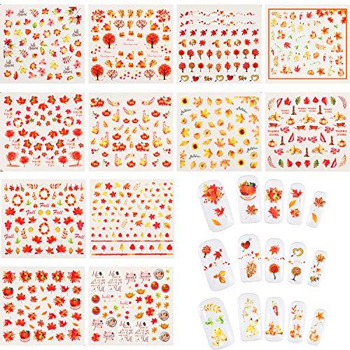 12 Blätter Nagel Aufkleber Herbst Blätter Nagel Abziehbilder Thanksgiving Nagel Tattoo Aufkleber und Pinzette für Frauen Mädchen DIY Nagel Dekorationen