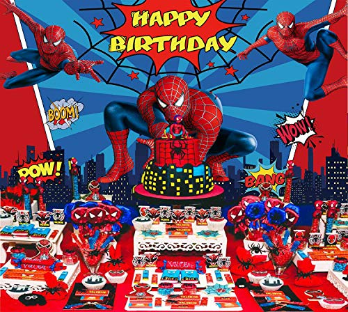 Spiderman Backdrop Marvel Birthday Banner Superhero Background Boys Party Supplies Kids | Banner Photography Decorations