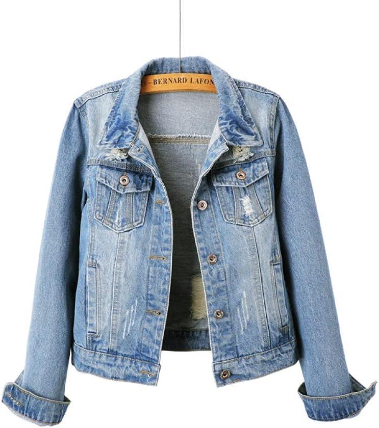 HNJing Denim Jacket Women's Short Slim Korean Version of The New Slim Student Long-Sleeved Denim Jacket