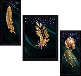 PNF Set of 3 Framed metalic leaves-1814(14x22inch,Multicolour,Synthetic Frame)