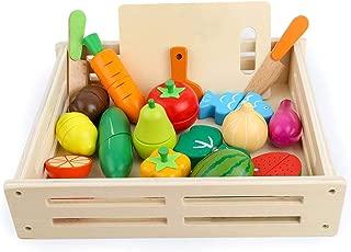 おままごとセット 木製 マグネット キッチン ごっこ遊び 木のおもちゃ 野菜 果物 食べ物 食品衛生法検査済 赤ちゃん 幼児 子ども 男の子 女の子に 誕生日プレゼント 贈り物 出産祝い 入園お祝い 18個セット (18pcs)