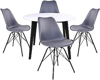 AltoBuy Gram - Ensemble Table Ronde Noire et Blanche + 4 Chaises Grises