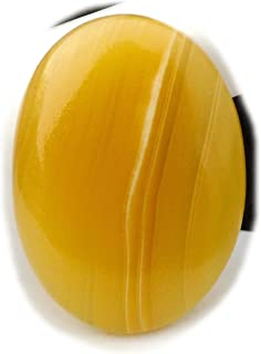 The Best Jewellery Yellow Lace Agate Cabochon, 43Ct Yellow Lace Agate Gemstone, Oval Shape Cabochon For Jewelry Making (36...