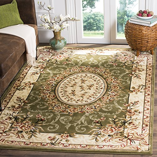 Safavieh Lyndhurst Collection LNH328B Traditional European Medallion Sage and Ivory Area Rug (4' x 6')