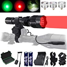 VASTFIRE Predator Light with Interchangeable (Red, Green, White) LED Hunting Flashlight with Scope Mount for Hog Coyote Co...