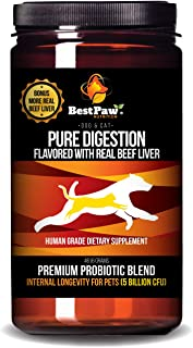 Probiotics for Dogs & Cats with Prebiotics & Digestive Enzymes Best for Gas Diarrhea UTI & Yeast Infection Relief Grain Free Powder Supplement Organic Coconut Oil Pumpkin & Turmeric Made in the USA