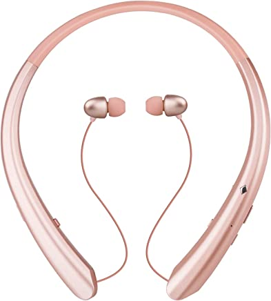 Yicon Bluetooth Wireless Stereo Headset, Retractable Neckband Headphones Earbuds W/Call Vibrate Alert & Voice Prompts, Noise Cancelling Built-in Mic (Rose Gold)