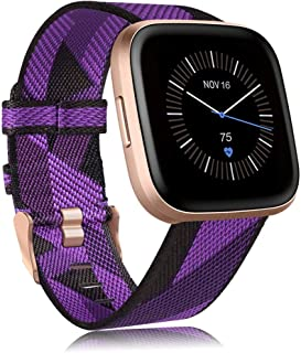 Findway Compatible with Fitbit Versa/Fitbit Versa 2/Fitbit Versa Lite, Breathable Woven Fabric Strap Adjustable Wristband ...