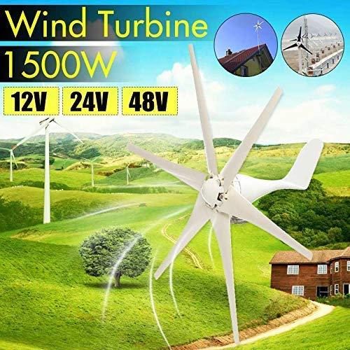 LWQ 1500W Miniatura aerogeneradores Residencial, DC 12V / 24V / 48 voltios 6 Cuchillas Miniatura aerogeneradores hogar residencial de Las turbinas de Viento generador para el país o Acampar,24v,1500W