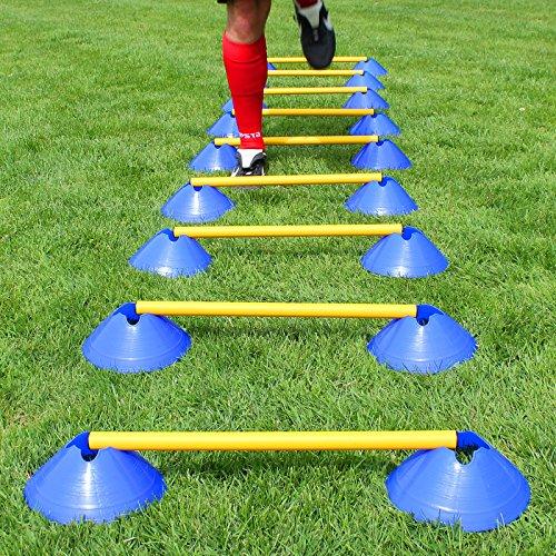 Mini-Hürden 10er Set, Blaue Mulden und gelbe Stangen 50 cm mit Tragetasche, für Fußballtraining