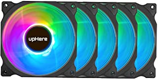 upHere120mm Quiet Edition High Airflow RGB Case Fan,Adjustable Color PC Cooling Fan for Computer Cases,5-Pack (C8123-5)