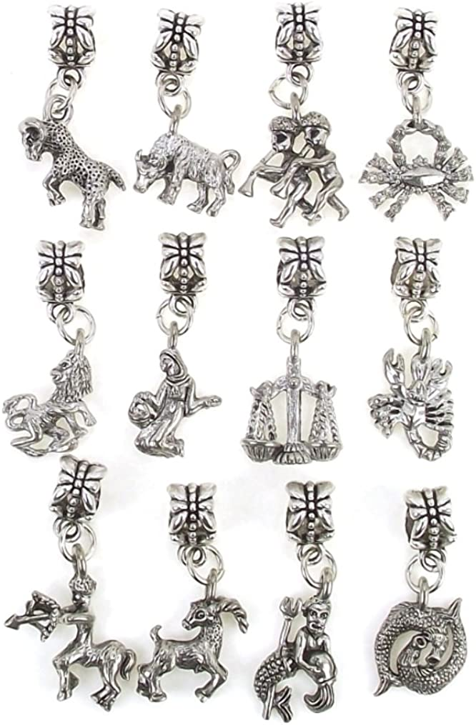 Antique Popular brand Pewter 3D Easy-to-use Zodiac Sign Horoscope Dangle Ch Astrology Bead