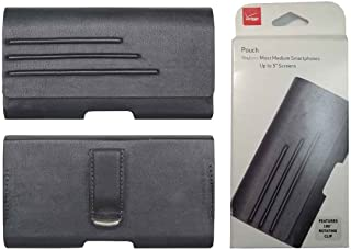 Verizon Wireless Vegan Leather Pouch w/ Belt Clip for iPhone 6, Galaxy S4, S5, S6, Motorola Droid X & Most Medium Smartphones