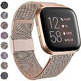 Funbiz Compatible avec Fitbit Versa Bracelet/Fitbit Versa 2 Bracelet, Metal Mesh Inoxydable Réglable Bande avec Verrouillage Unique pour Fitbit Versa/Versa Lite, Petit, Royal Gold