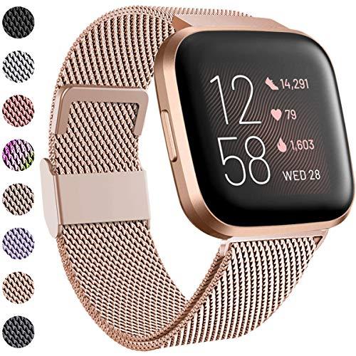 Funbiz Kompatibel mit Fitbit Versa Armband/Fitbit Versa 2 Armband, Edelstahl Handgelenk Metall Ersatzband Armbänder Kompatibel mit Fitbit Versa/Versa 2/Versa Lite, Klein, Königliches Gold