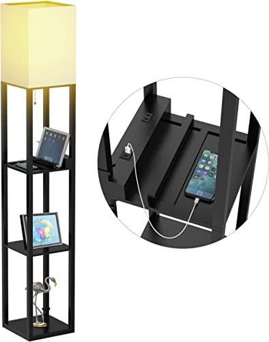 Floor Lamp with Shelves, Shelf Floor Lamps by Real Solid Wood with 2 Charging Ports and 1 Power Outlet, Floor Lamps f...